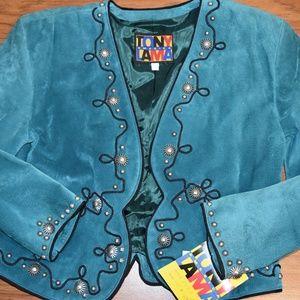 Ladies Tony Lama Teal Suede Bolero Jacket Size 10